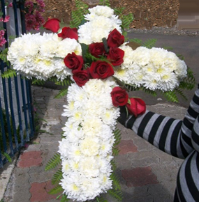 White crysenthem and carnation Cross Wreath