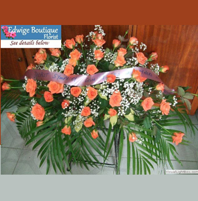 Salmon Colored Roses Casket Spray