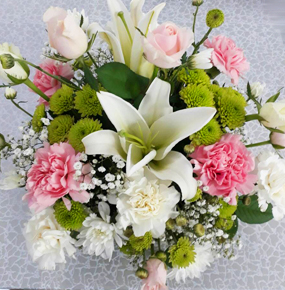 MIXED BOUQUET WITH CARNATIONS, ROSES AND LILIES