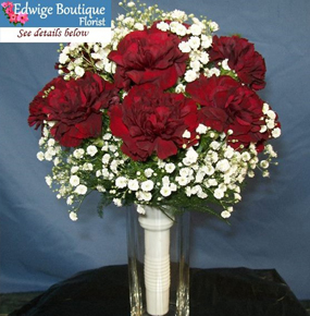 Red carnations & white gypsophila Bridal Bouquet