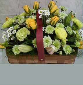 Yellow Roses, Green chrysanthemums & Carnation & Lilies Basket