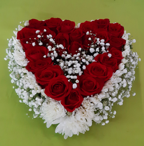 25 Red Roses in a heart shape
